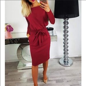 Dresses & Skirts - Long Sleeve Bodycon Belted Dress